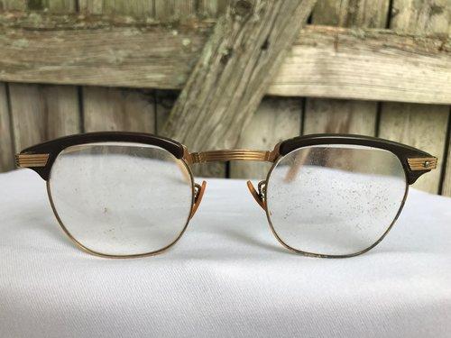 Gold Browline Frames -344 — New Eyes
