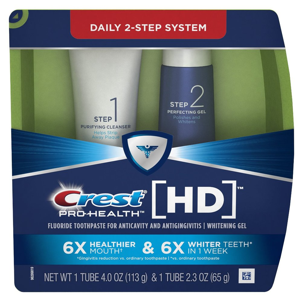 Crest! Pro-Health! HD! Flouride! Anticavity! Antigingivitis! Whitening gel! 6x! Healthier! Whiter! Teeth! Mouth! 1 week! ... Was Crest trying to SEO this label?