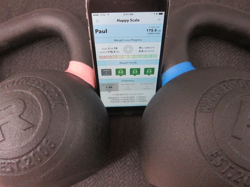 Look at how happy Happy Scale is nestled in there between those kettlebells. This app needs to be nestled.
