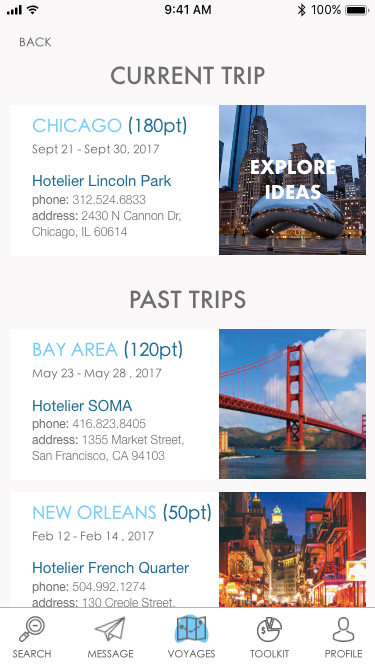 Booked Trips page of Hotelier app.