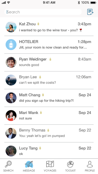 Messaging page of Hotelier app.