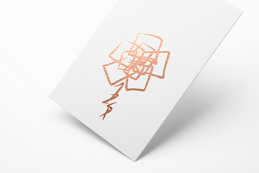 Rose logo depicted on white cardstock