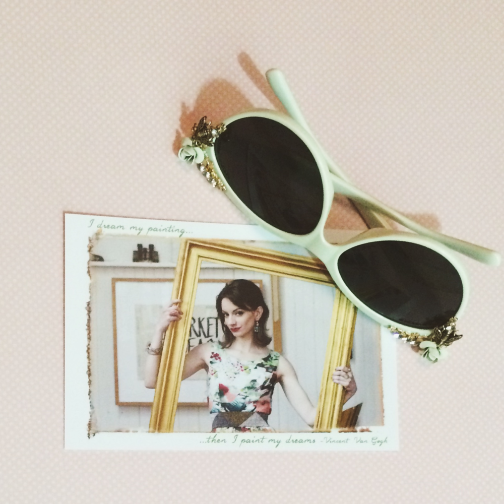 Bloom postcard & new sunnies I picked up!