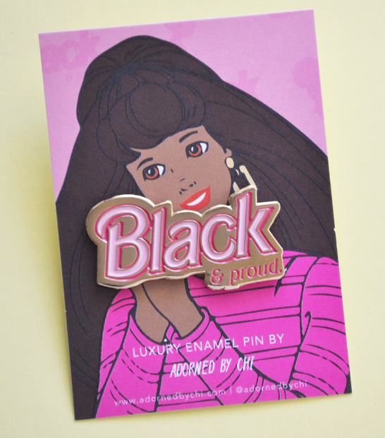 BLACK & PROUD BARBIE INSPIRED CUTE ENAMEL PIN