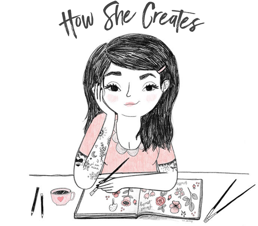 Art for How She Creates, by Zie of ziedarling.com