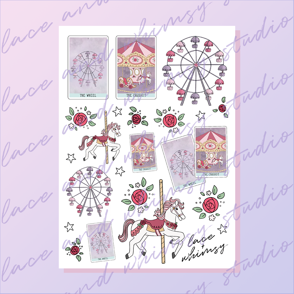image regarding Printable Sticker Sheet known as The Wheel The Chariot / Printable Sticker Sheet Lace Whimsy