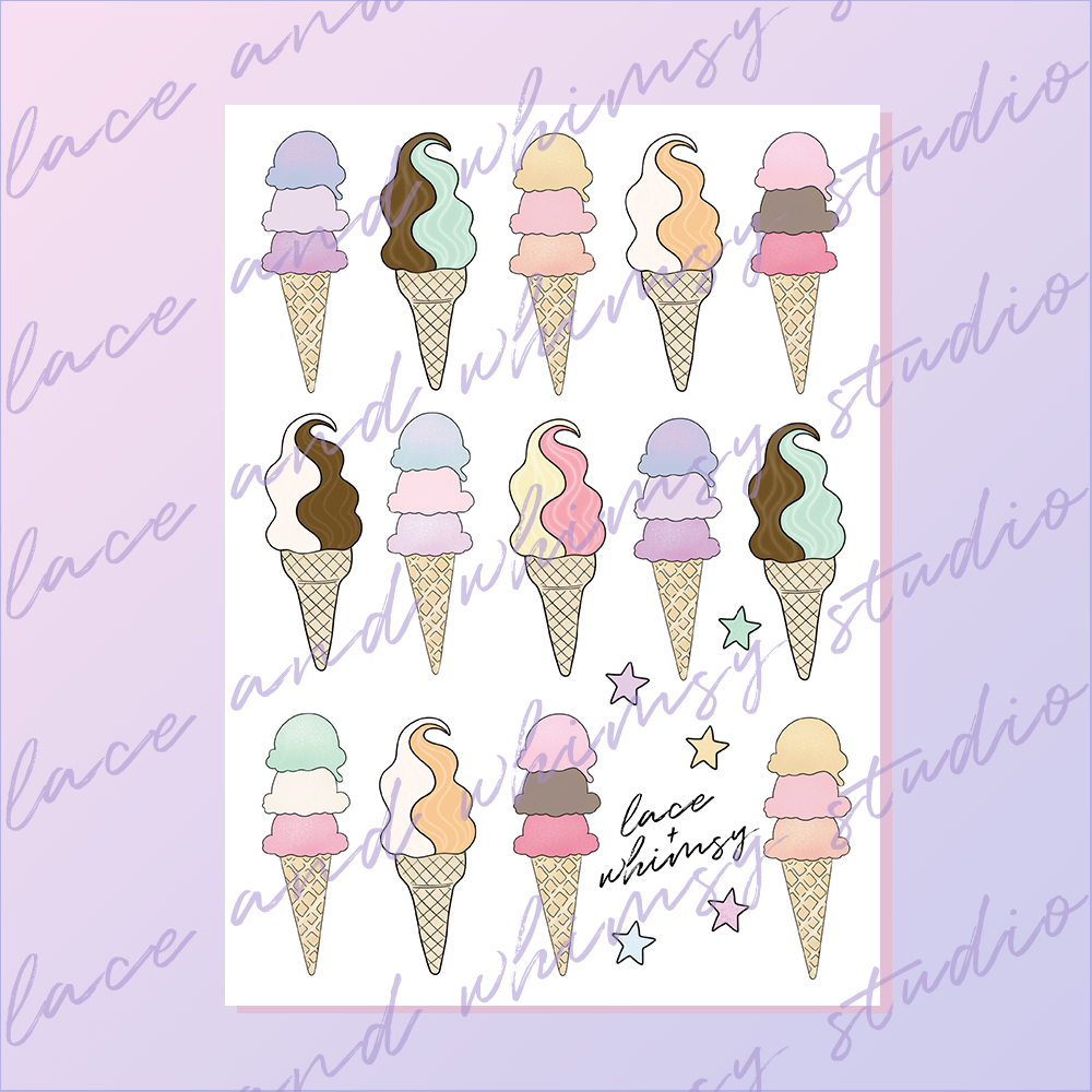 Ice Cream You Scream Printable Sticker Sheet Lace Whimsy