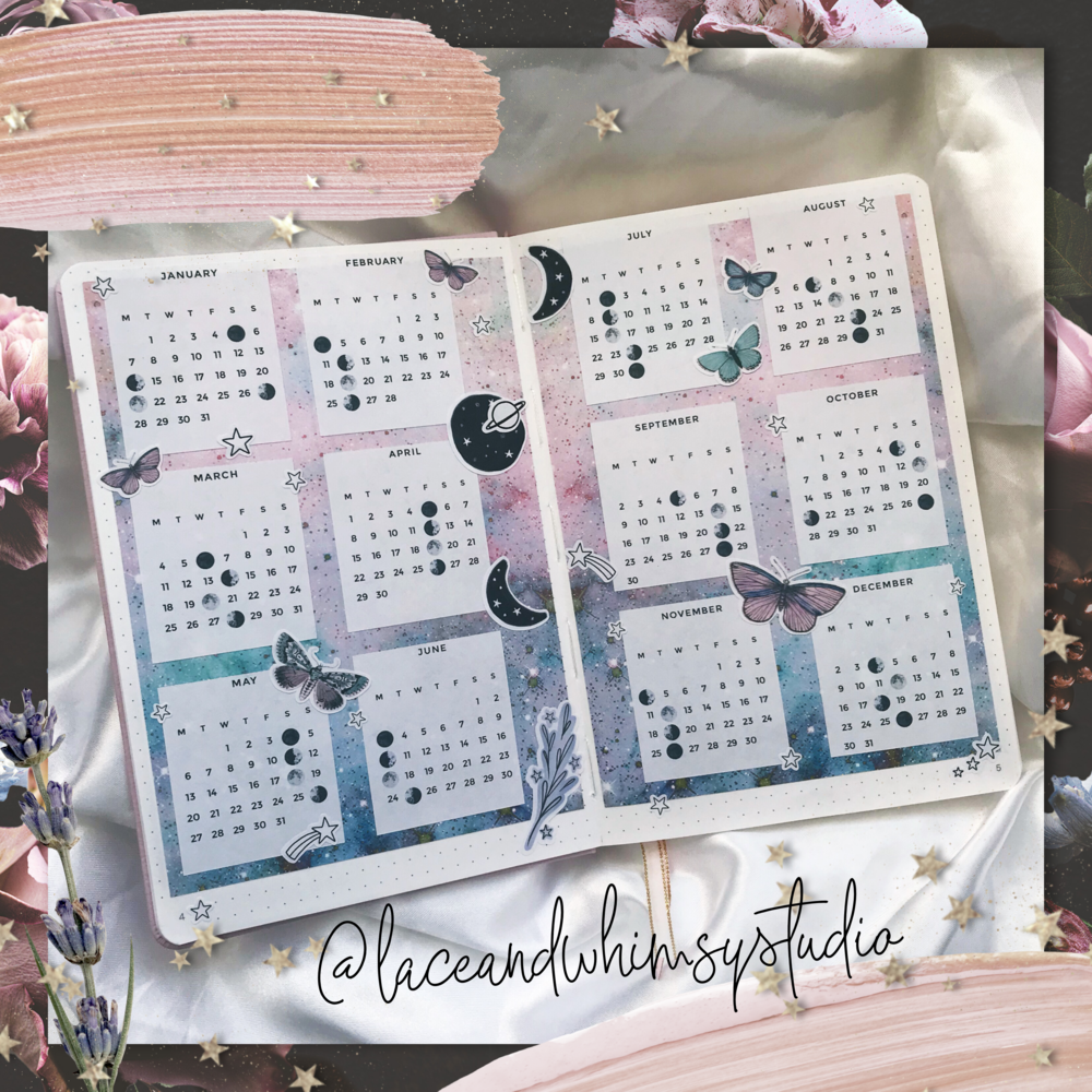 this is my lunar calendar in my 2019 bullet journal. 🌸⭐💫🌙 // i tried using a pen to make this spread and messed up horribly! 🙈 so i printed out a galaxy pattern on sticker paper to cover up the failed attempt. then I went on Etsy and found the most beautiful printable 2019 calendar from  @jayandemshop  (check them out, chic minimalist planner heaven!). I added the moon cycle to the calendar and cut the months apart so i could space them evenly and let the galaxy show through. the celestial stickers are all available in my shop (laceandwhimsy.com) 💞 the butterfly stickers are by  @  aerialovely  🦋⭐