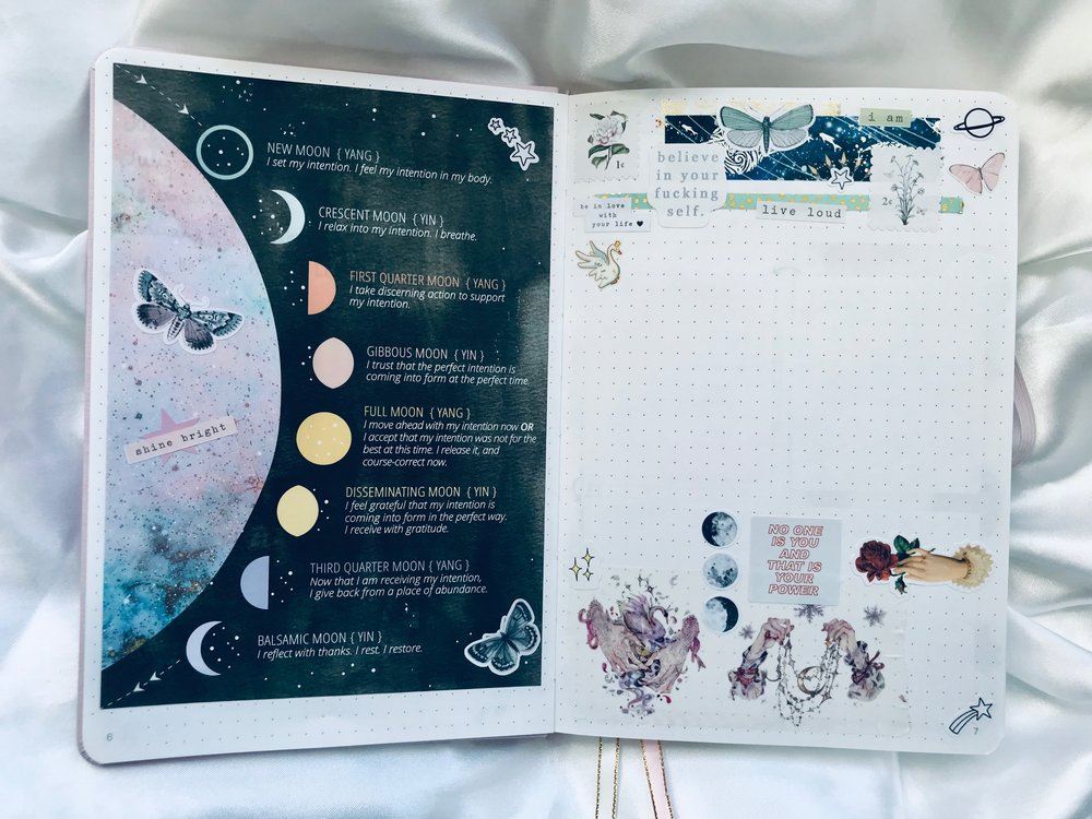 I've been reading  Lunar Abundance  by  @  ezziespencer  and was so excited to find this moon cycle printable on her website! It was perfect for my bullet journal. I layered some stickers over top of it to make it feel more like an art journal page. Stickers used in this spread are by  @  aerialovely ,  @dirtyworkdesigns , and  my shop .