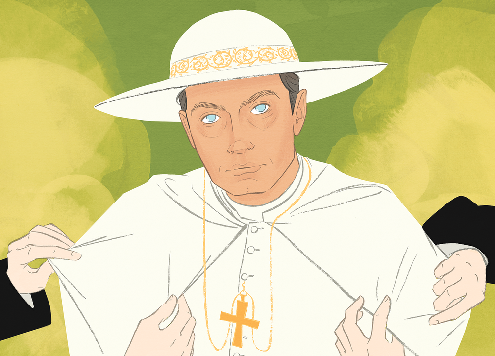 self promotion: portrait of Jude Law in HBO's Young Pope