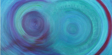 "Tidal Wave, 18"" x 36"", oil pastel on canvas"