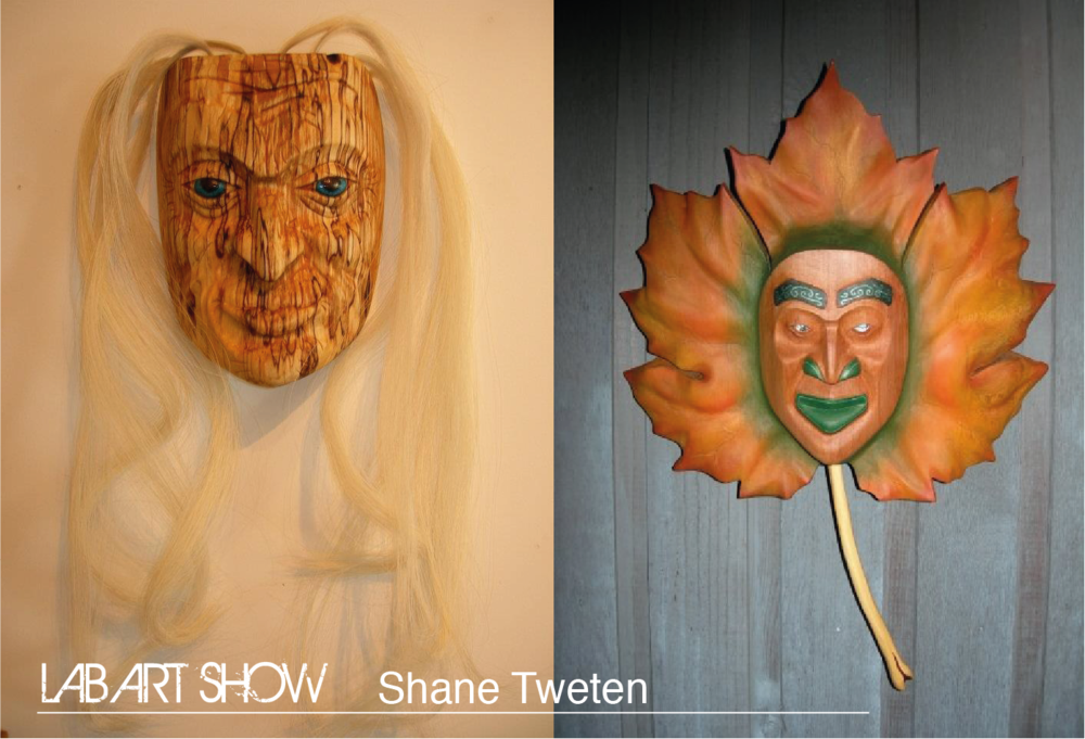"(L) Elder Woman, 12"" H x"" W x 3"" D                       (R) Maple Leaf Spirit Mask, 19' H x 15' W x 5' D"