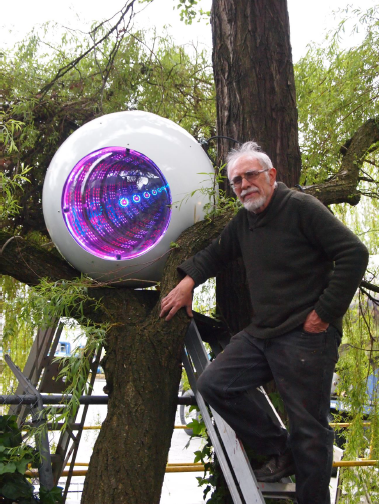 Ron Simmer (artist) with  Cyborg Eyeball
