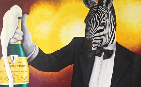 Zebra, 24 x 36, acrylic on canvas
