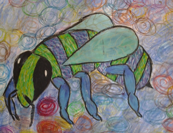 Bee, 41 x 29, oil pastels on paper