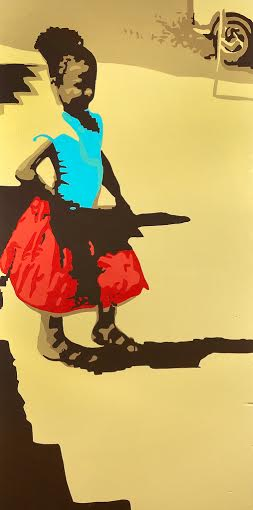 "Bailadora, 48"" x 24"", acrylic on wood"