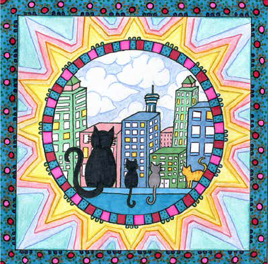 "Cats in the City, 8"" x 10"""