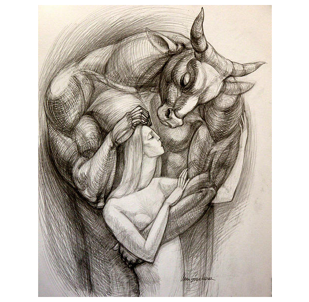 "Minotaur in Love, 17"" x 14"", pencil on paper"