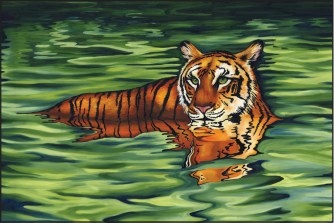 "Water Tiger, 36"" x 24"", oil on canvas"