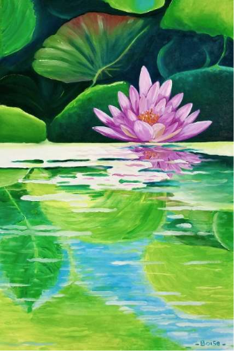 "Water Lily in the Pond, 24"" x 36"", oil on canvas"