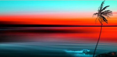 "Sunset Surfer, 18"" x 36"", digital print on acrylic glass"