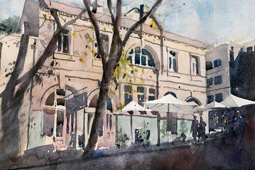 """The Rocks, Sydney, Australia A simple watercolour composition of a building in Sydney's oldest English settlement (""""The Rocks""""). The dark shadows and sculptural tree contrast with the building facade bathed in bright sunlight."""