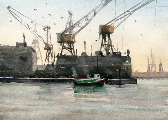 Harbour View, Lonsdale Quay, North Vancouver This plein air watercolour captures the essence of a classic Vancouver harbour view with cranes, buildings, ships and tugboat. The watercolour was painted on location, looking into the morning light with a yellow glow behind the silhouetted industrial shapes.