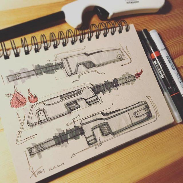 ✖️🕯🔥 Sunday doodle at the desk. Got inspired to do some scratches of the multi purpose lighter on my desk. #sketching #idsketching #sketch #doodling #designsketch #industrialdesign #productdesign #design #id #sketchbook #ideation