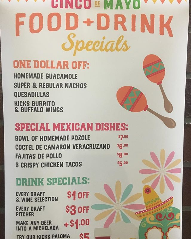 Come Shake Your Maracas With Us At Our Cinco De Mayo Fiesta!!! Enjoy our Homemade Pozole and Ceviche De Camarón Veracruz Style.  #mexicanfood #foodie #kickssportsandgrill #sportshouse #cincodemayo