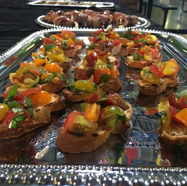 Heirloom tomatoes with basil bruschetta.