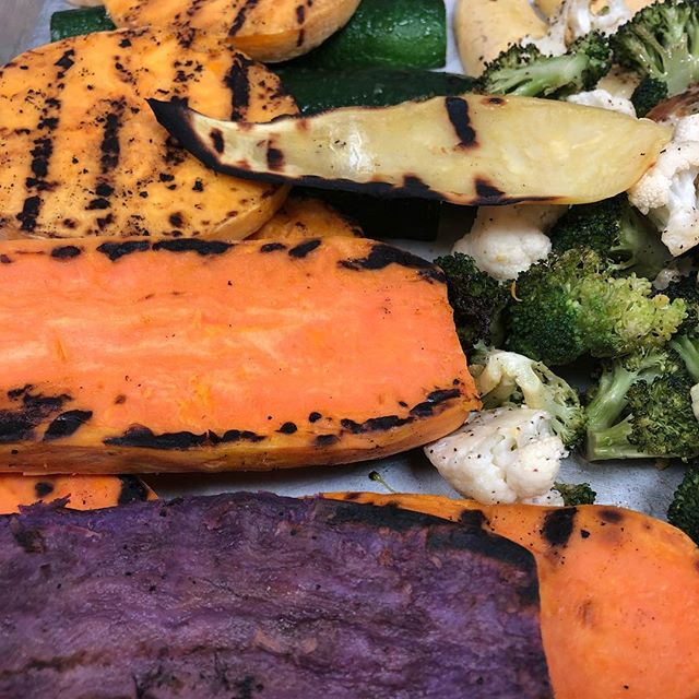 Nothing like the most fresh seasonal veggies! That's what we believe at kicks. Simple, fresh food made right! Letting the produce shine  Fire Roasted Veggies! #kickssportsandgrill #fallseason #foodiesofinstagram #foodporn #chefslife #foodie #purplesweetpotato #sportshouseredwoodcity