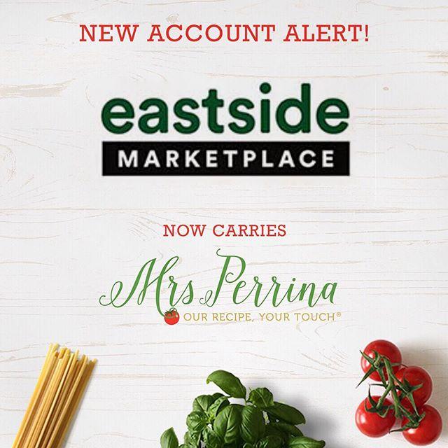 New account alert! We are now carried at @eastsidemarketplace in providence Rhode Island🍝 #MadeWithMrsPerrina #MrsPerrinaMarinara