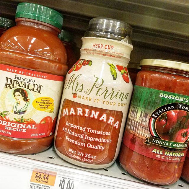 Officially on the shelves at #BigY in Peabody. #MrsPerrinaMarinara is made right here in Peabody! #EatLocal #WePrepIt #YouCookIt #OurRecipeYourTouch