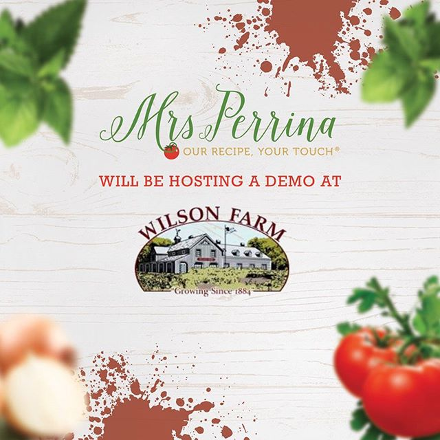 join us @wilsonfarm in Lexington for #tomatofest this weekend, Aug. 26 and 27. We will be sampling sauce all weekend long! #mrsperrinamarinara