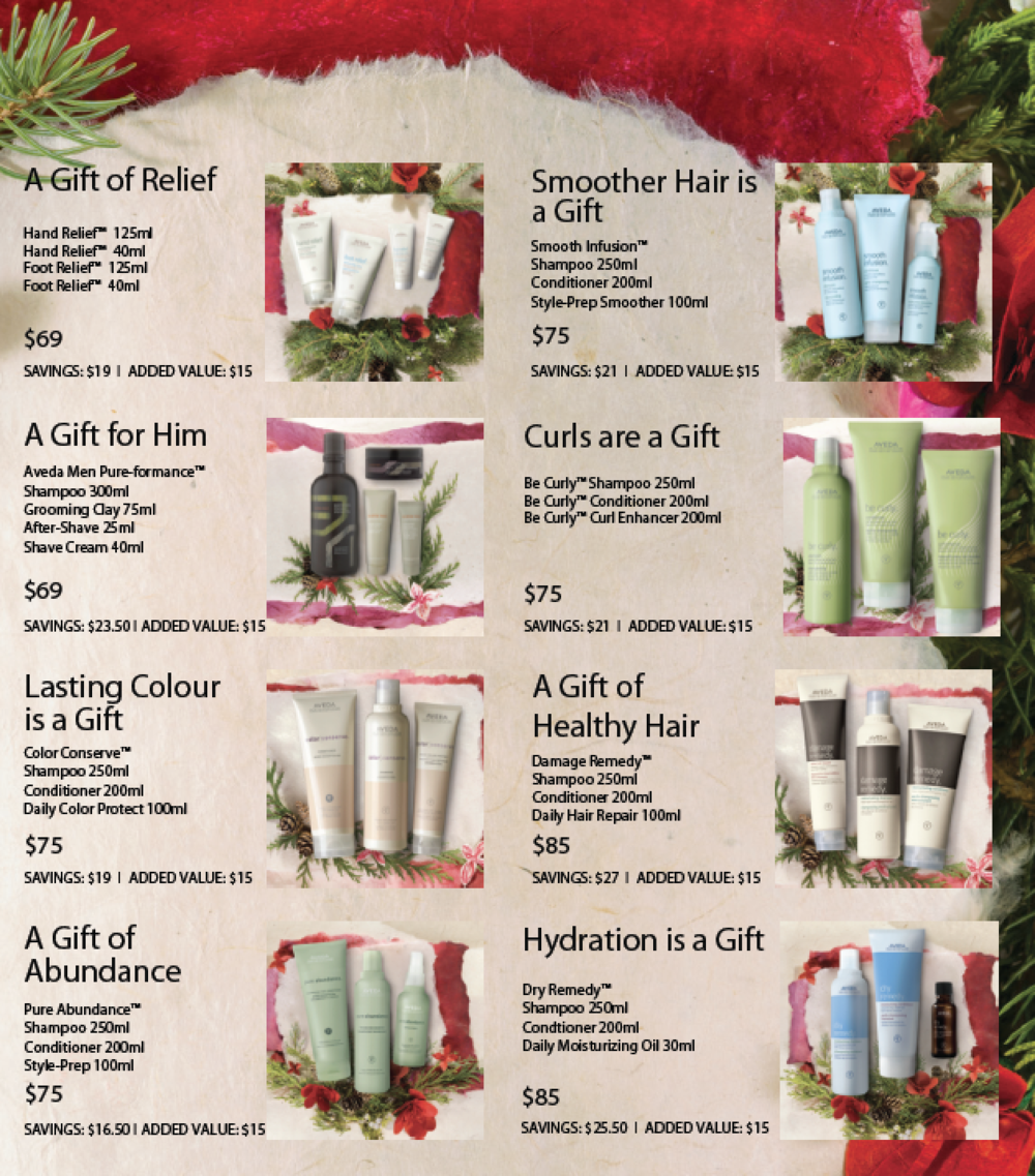 Aveda holiday gift sets at RedBloom Salon