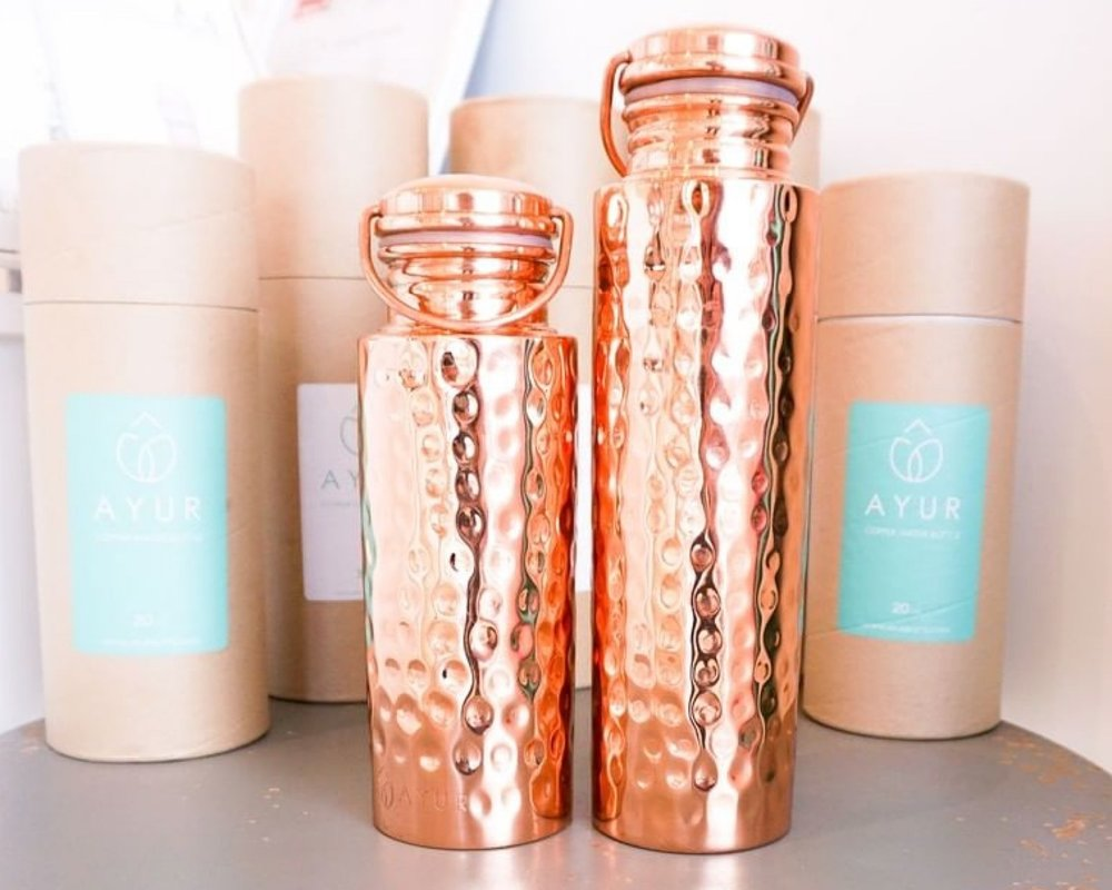 Frilly Lilly - Ayer copper water bottle. When drinking water from a copper water bottle, the water absorbs the copper and its nutrients. Scientific studies have show that copper removes bacteria and impurities from water through its antimicrobial properties. 32oz bottles for $56 or 20oz are $48