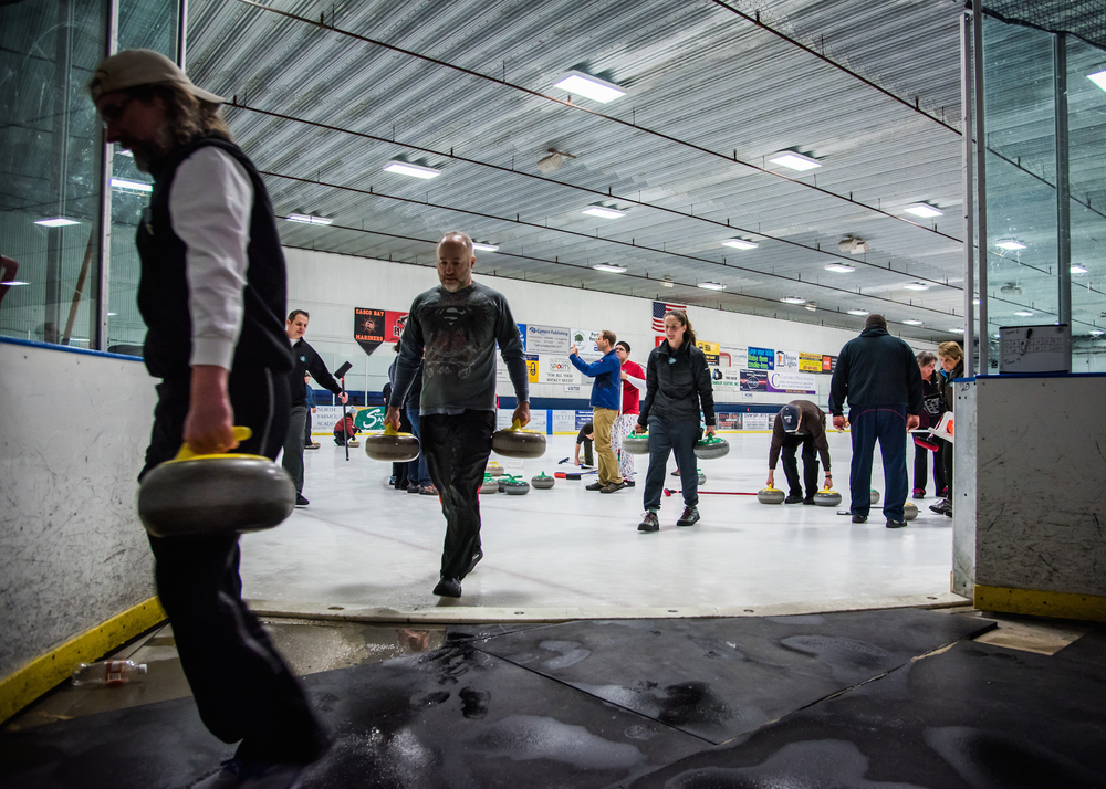 The Pine Tree Curling Club played the last match of its inaugural season at the Troubh Ice Arena in Portland on Wednesday, February 24, 2016.