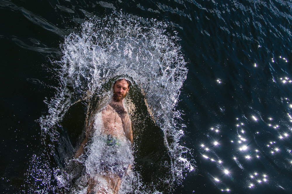 Kyle Wilson takes a plunge in Gross Pond in Waldoboro Saturday, July 2, 2016.