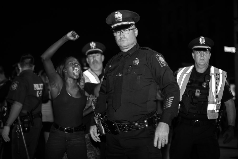 A protest in Portland in support of Black Lives Matter ended with 18 arrests after demonstrators congregated for several hours in the intersection of Pearl and Commercial streets during the evening of July 15, 2016.