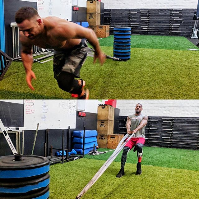 I've been incorporating a lot of heavy sled work as a component of our Lower Body Max Effort days with our pro guys lately. Max weight exercises don't always have to be limited to classic barbell lifts and can be applied to variety of different movements. The conditioning effect that comes comes attached to trying to move the heaviest weight as from point A to B as fast as possible also acts as a great way to cap the week off and incentivize the guys to rest and recover over the weekend. #nfl #football #freeagent #strength #conditioning #Sacramento #ethosstrong #strongman
