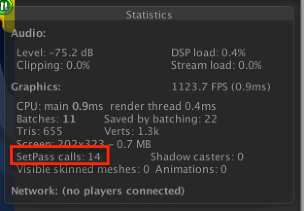 The Draw Call number is highlighted in red. Fyi, SetPass calls is Draw Calls.