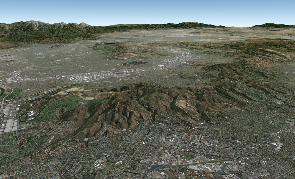 Google Earth aerial view of Puente-Chino Hills and SG Mountains
