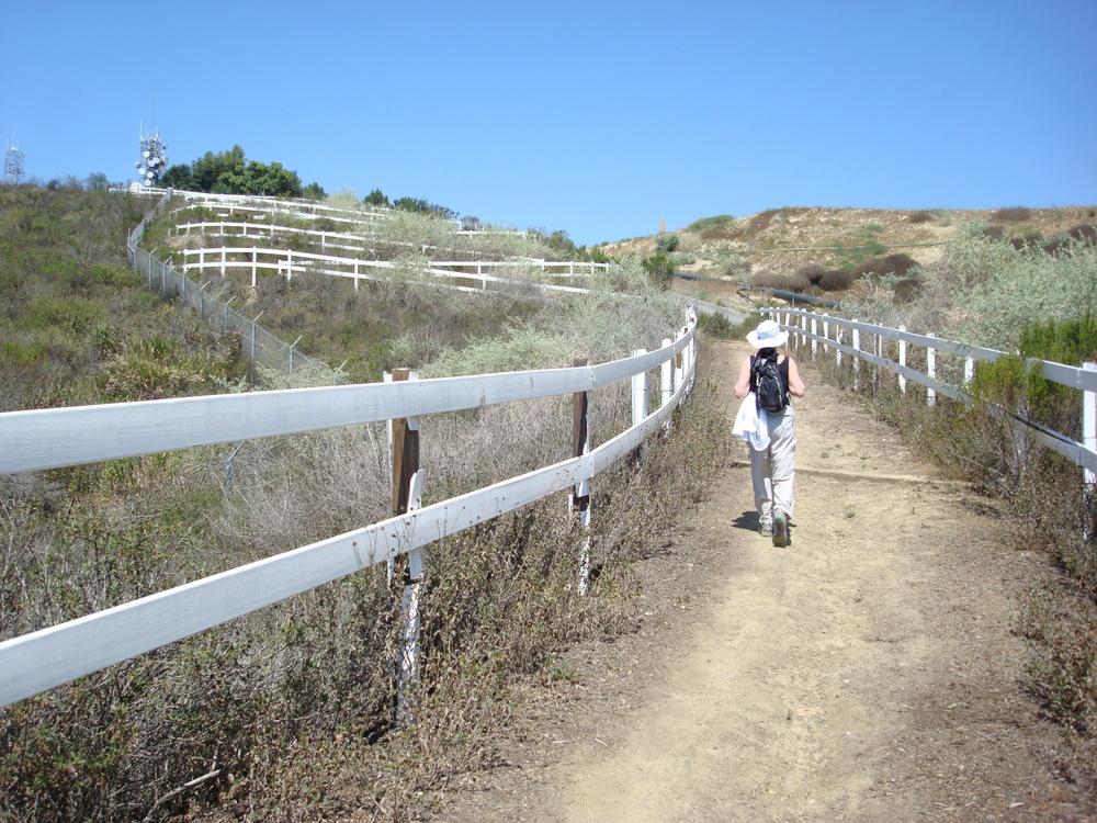 Woman hiking the Skyline-Schabarum Trail