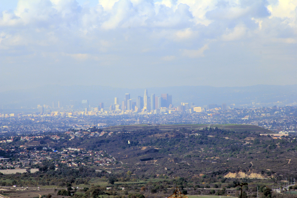 View to Downtown Los Angeles skyline from the proposed Puente Hills Landfill Park