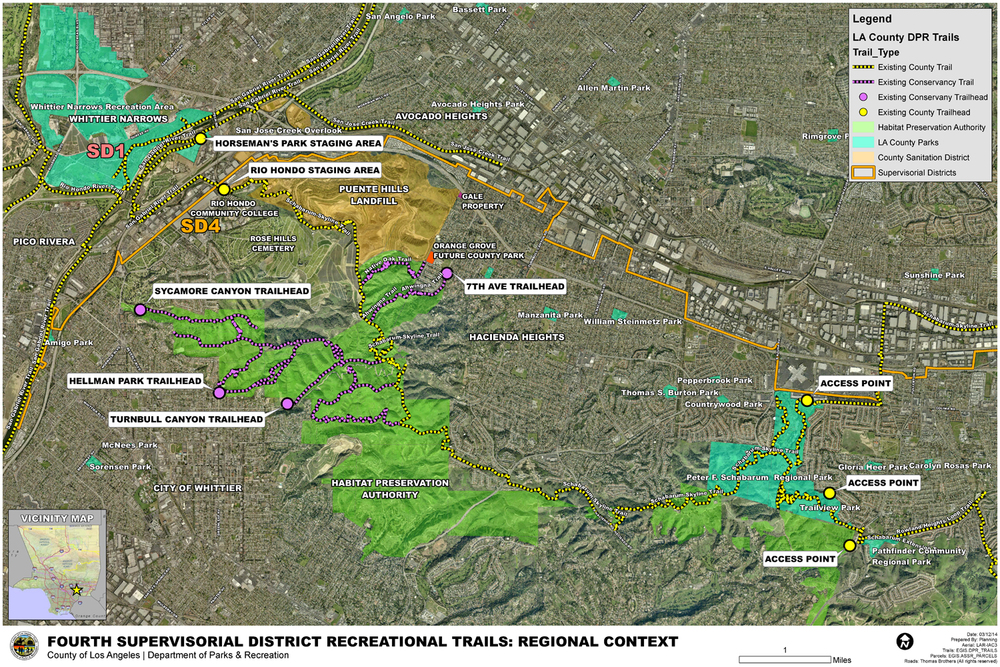 Map of trails in the Fourth Supervisorial District which connect through the proposed Puente Hills Landfill Park. Los Angeles County Department of Parks and Recreation.