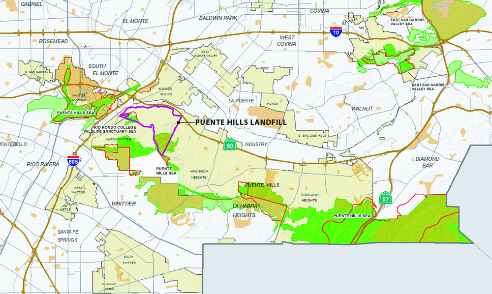 Map of County-designated Significant Ecological Areas which surround and overlap the proposed Puente Hills Landfill Park. Los Angeles County Department of Regional Planning.