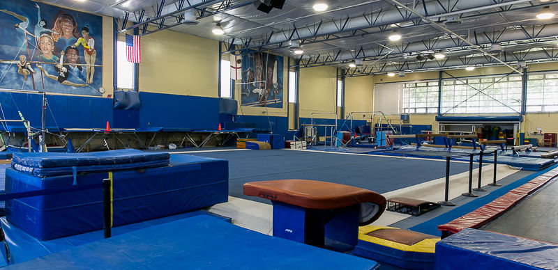 40'x40' gymnastics spring floor   12,000 sq. ft. gymnasium with unobstructed sight lines