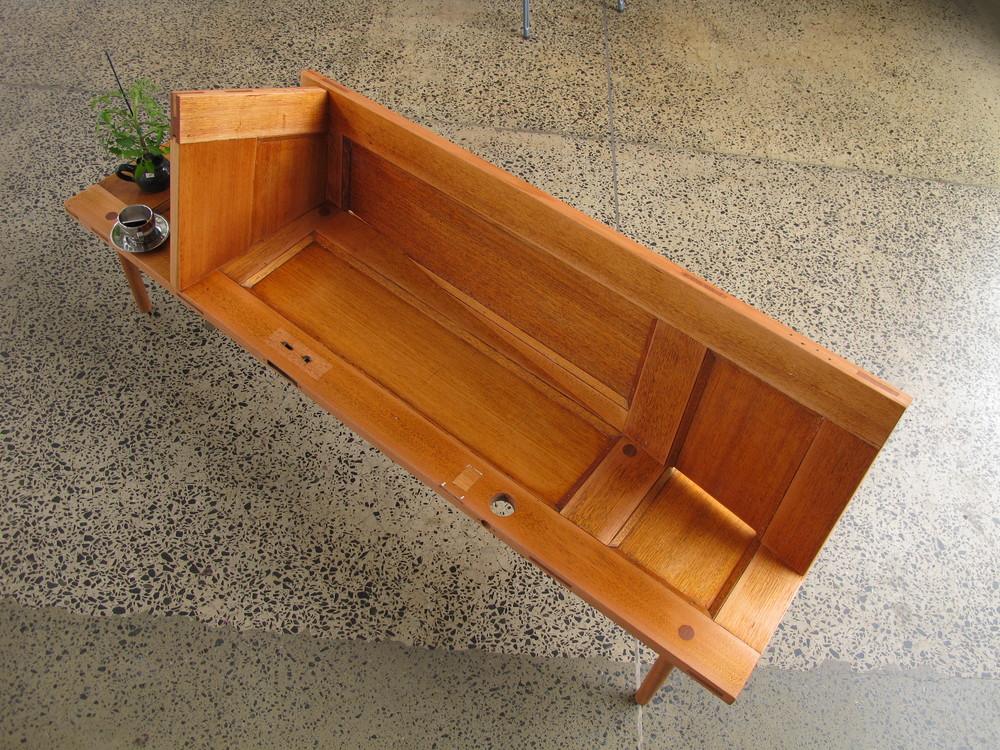 recycled door bench seat for the sustainable living festival