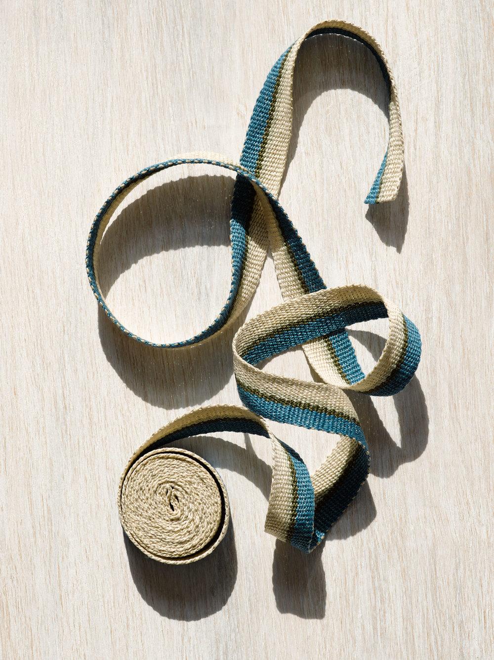 Silver Blue Handwoven Linen Tape Trim, Narrow