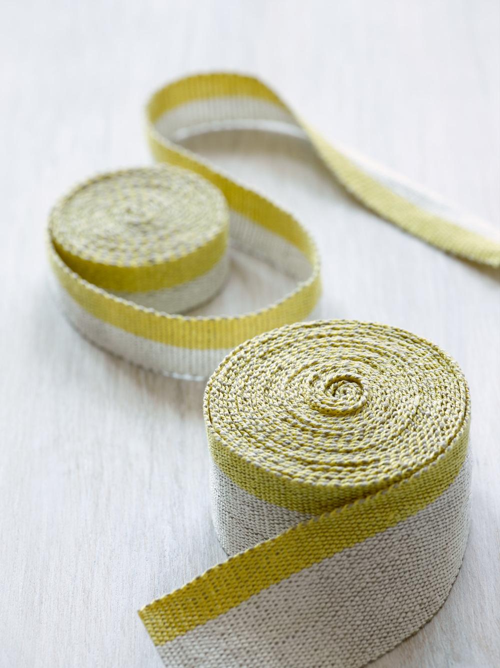 Fresh Yellow Medium and Narrow Linen Tape Trims